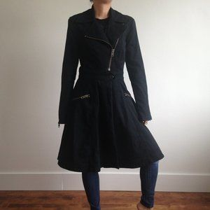 Betsey Johnson - Black Long Structured Denim Coat